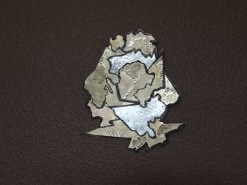 """Reconstruct. #3-- H. 7.5"""" X W. 6.25"""". Brass, s.silver, Nugold, Bronze"""